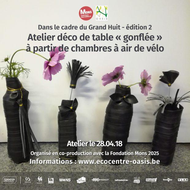 """Atelier déco de table """"gonflée"""" à partir de chambres à air de vélo"""